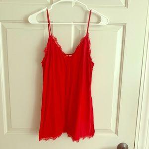 H&M red lace trim camisole
